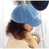 Casquette femme Gavroche laine velours bleu jean 6511 Casquette femme