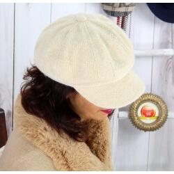 Casquette femme Gavroche laine velours beige 6511 Casquette femme