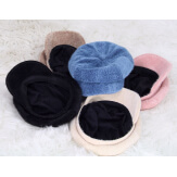 Casquette femme Gavroche laine velours taupe 6511 Casquette femme