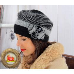 Bonnet femme hiver angora laine perles noir 5151 Bonnet femme