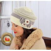 Bonnet femme hiver angora laine perles beige 5151 Bonnet femme