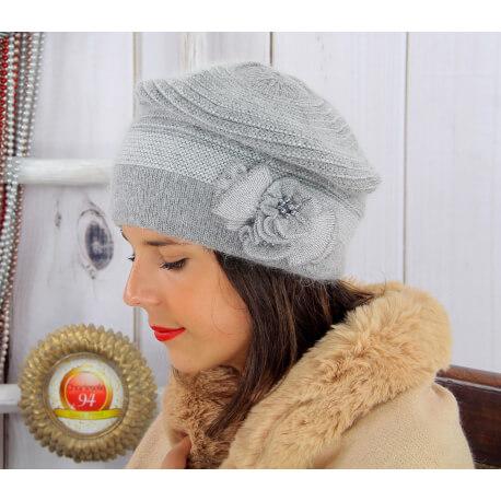 Bonnet femme hiver angora laine perles gris 5151 Bonnet femme