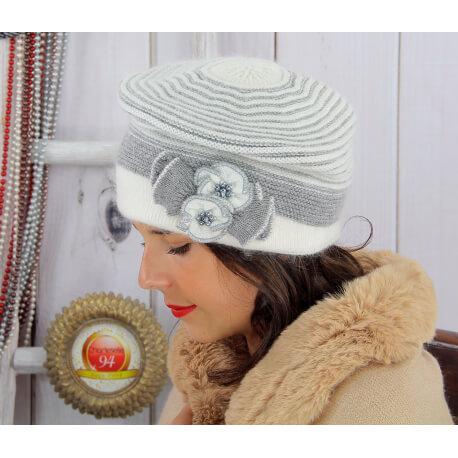 Bonnet femme hiver angora laine perles écru 5151 Bonnet femme