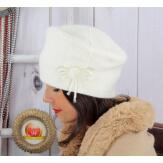 Bonnet béret femme hiver angora laine écru BB07 Bonnet femme