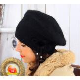 Bonnet béret femme hiver angora laine noir BB07 Bonnet femme