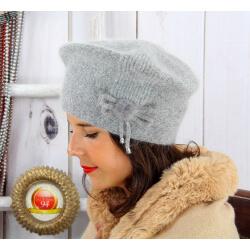 Bonnet béret femme hiver angora laine gris BB07 Bonnet femme