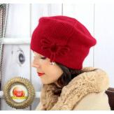 Bonnet béret femme hiver angora laine bordeaux BB07 Bonnet femme