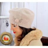 Bonnet béret femme hiver angora laine taupe rosé BB07 Bonnet femme