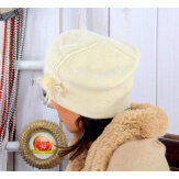 Bonnet béret femme hiver angora laine beige BB07 Bonnet femme