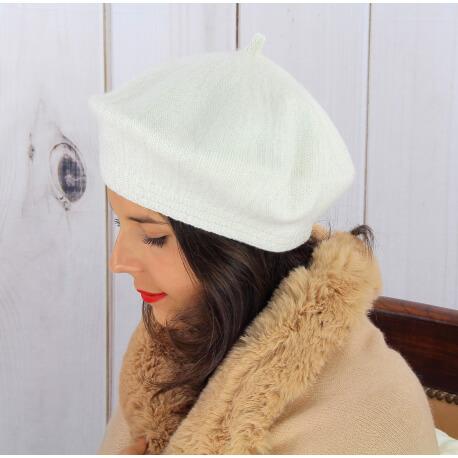 Béret bonnet femme hiver cachemire double écru BA45 Béret femme