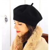 Béret bonnet femme hiver cachemire double noir BA04 Béret femme