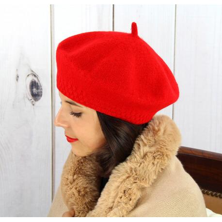 Béret bonnet femme hiver cachemire double rouge BA45 Béret femme