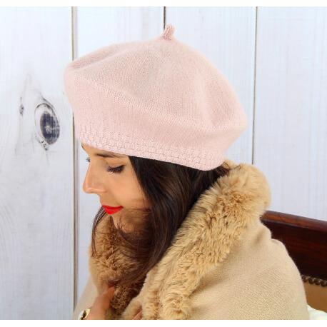 Béret bonnet femme hiver cachemire double rose BA45 Béret femme