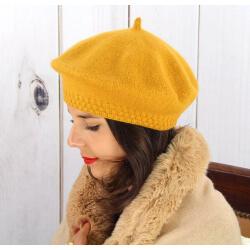 Béret bonnet femme hiver cachemire double ocre BA45 Béret femme