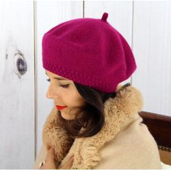 Béret bonnet femme hiver cachemire double violet BA45 Béret femme