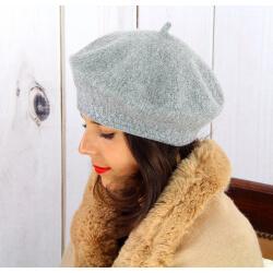 Béret bonnet femme hiver cachemire double gris BA45 Béret femme
