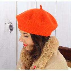 Béret bonnet femme hiver cachemire double orange BA45 Béret femme