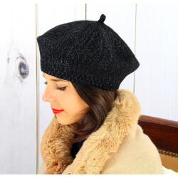 Béret bonnet femme hiver cachemire double noir BA45 Béret femme