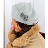 Béret bonnet femme hiver cachemire rebrodé gris BA01 Béret femme