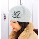 Béret bonnet femme hiver cachemire rebrodé perles gris BA02 Béret femme