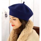 Béret bonnet femme hiver cachemire double marine BA04 Béret femme