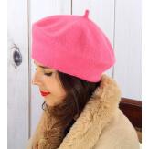 Béret bonnet femme hiver cachemire double fushia BA04 Béret femme