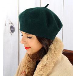 Béret bonnet femme hiver cachemire double vert sapin BA04 Béret femme