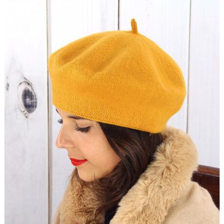 Béret bonnet femme hiver cachemire double moutarde BA04 Béret femme
