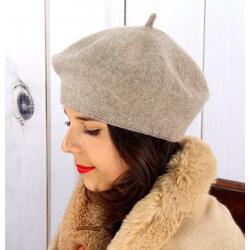 Béret bonnet femme hiver cachemire double taupe BA04 Béret femme