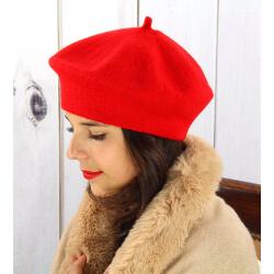 Béret bonnet femme hiver cachemire double rouge BA04 Béret femme