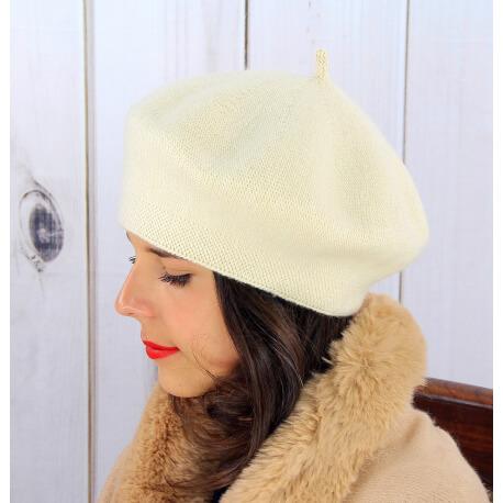Béret bonnet femme hiver cachemire double beige BA04 Béret femme