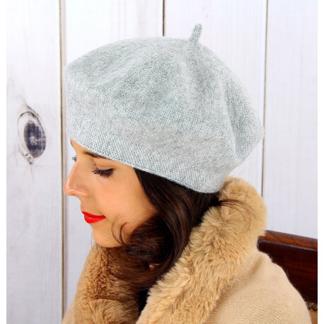 Béret bonnet femme hiver cachemire double gris BA04 Béret femme