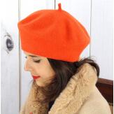Béret bonnet femme hiver cachemire double orange BA04 Béret femme