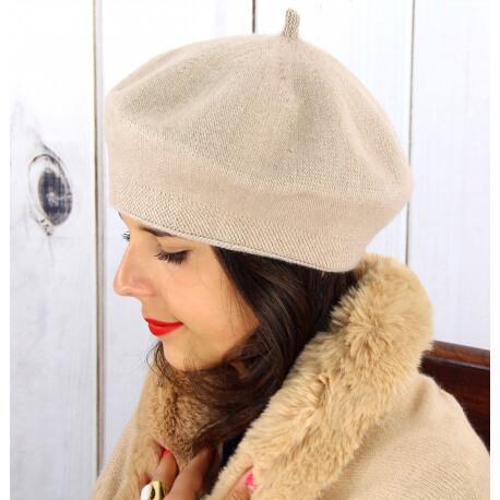 Béret bonnet femme hiver cachemire double rose pâle BA04 Béret femme