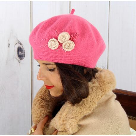 Béret bonnet femme hiver cachemire rebrodé fushia rose BA01 Béret femme