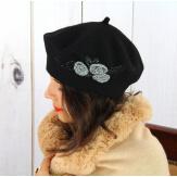 Béret bonnet femme hiver cachemire rebrodé noir BA01 Béret femme
