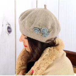 Béret bonnet femme hiver cachemire rebrodé taupe BA01 Béret femme