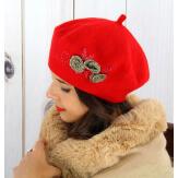 Béret bonnet femme hiver cachemire rebrodé rouge BA01 Béret femme