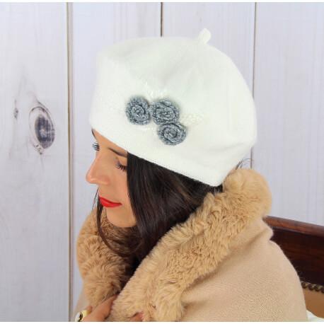 Béret bonnet femme hiver cachemire rebrodé écru BA01 Béret femme