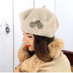 Béret bonnet femme hiver cachemire rebrodé rose pâle BA01 Béret femme