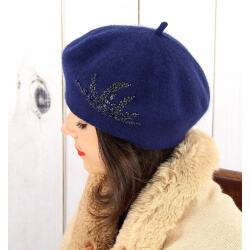 Béret bonnet femme hiver cachemire rebrodé perles bleu marine BA02 Béret femme