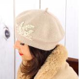 Béret bonnet femme hiver cachemire rebrodé perles rose pâle BA02 Béret femme