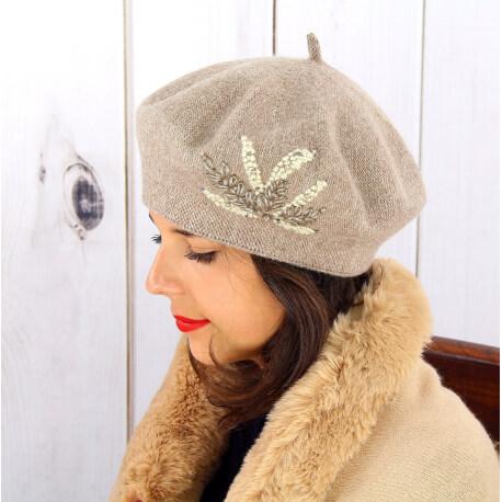 Béret bonnet femme hiver cachemire rebrodé perles taupe BA02 Béret femme