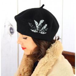 Béret bonnet femme hiver cachemire rebrodé perles noir BA02 Béret femme