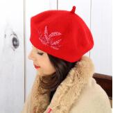 Béret bonnet femme hiver cachemire rebrodé perles rouge BA02 Béret femme