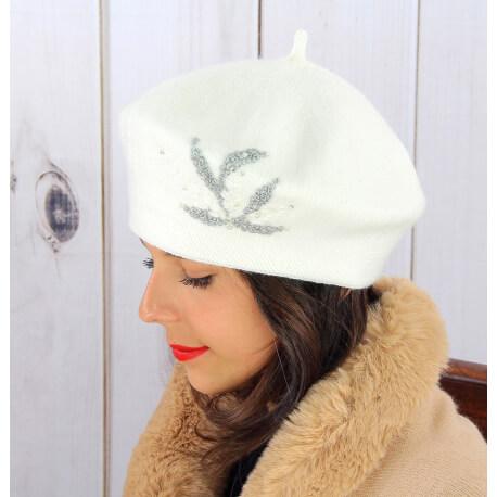 Béret bonnet femme hiver cachemire rebrodé perles écru BA02 Béret femme