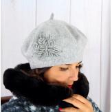 Béret bonnet femme hiver cachemire rebrodé gris BA00 Béret femme