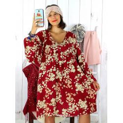 Robe tunique grande taille bohème bordeaux MILTON Robe tunique femme grande taille