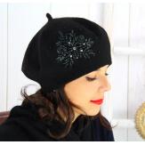 Béret bonnet femme hiver cachemire rebrodé noir BA00 Béret femme