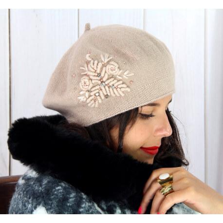 Béret bonnet femme hiver cachemire rebrodé rose pâle BA00 Béret femme